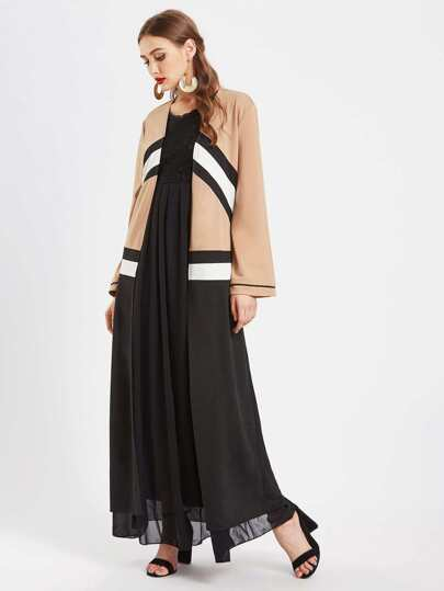 Contrast Striped Panel Longline Abaya With Hook & Eye