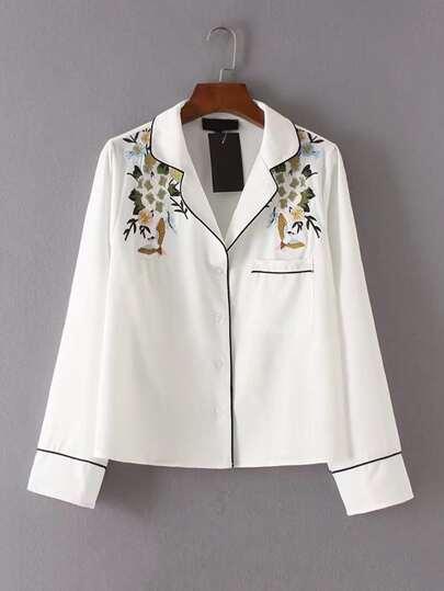 Контраст Binding Цветочная вышивка Блуза