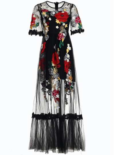 Flowers Applique Gauze Sheer Dress