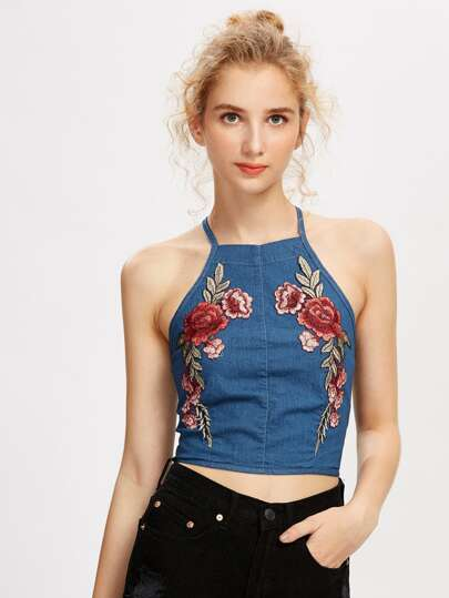 Flower Patch Crisscross Zip Back Chambray Cami Top