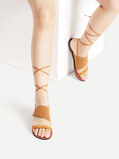 Open Toe Tie Leg Flat Sandals