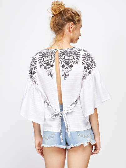 Self Tie Open Back Kimono Sleeve Embroidered Top