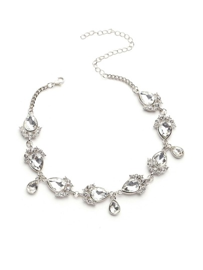 Water Drop Design Rhinestone Chain Choker