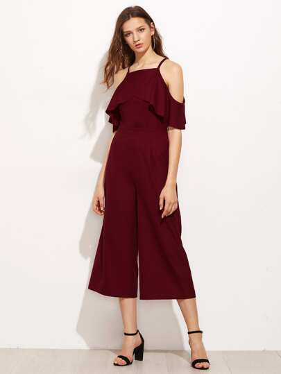 Overlap Frill Cold Shoulder Culotte Jumpsuit