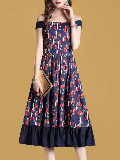 Boat Neck Floral A-Line Dress