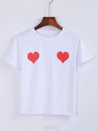 T-Shirt mit Herzmuster