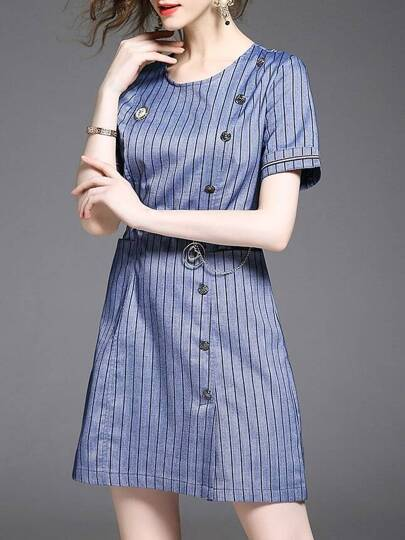 Striped Belted Sheath Dress
