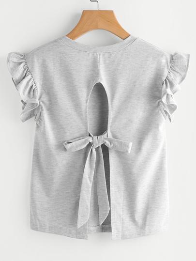 Camiseta con volantes y espalda abierta