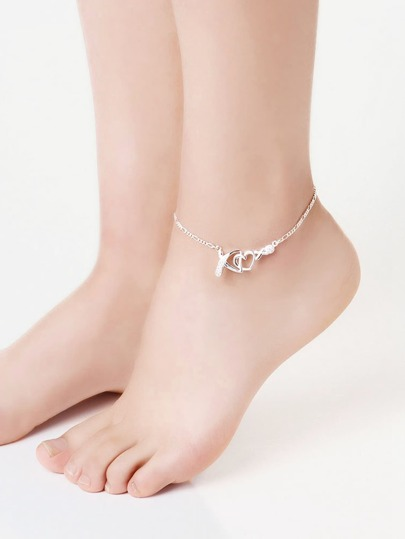 Rhinestone Heart Detail Chain Anklet