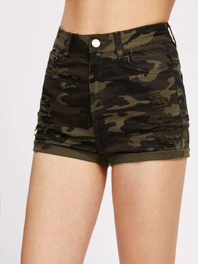 Shredded Cuffed Camo Denim Shorts