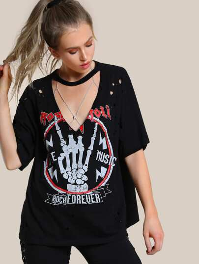 Oversized Grungy Graphic Top