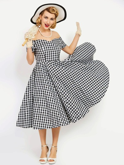 Checkered Bardot Ruched Sleeve Swing Dress