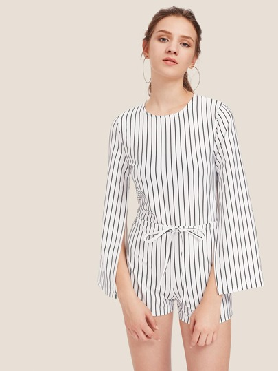 Vertical Striped Split Sleeve Keyhole Back Romper
