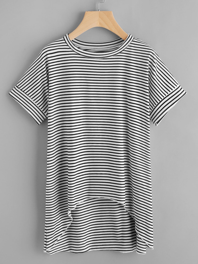 Dip Hem Striped T-shirt