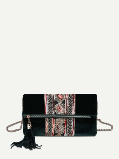 Tassel Detail Fold Over Velvet Clutch Bag