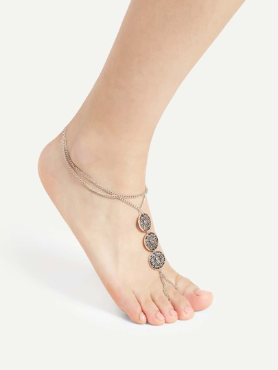 Metal Discs Detail Layered Chain Anklet