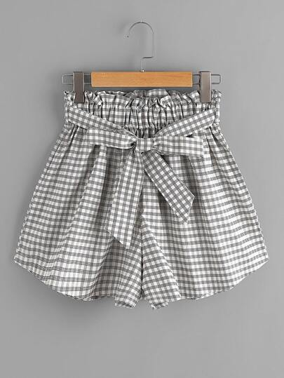 Gingham Print Shorts With Belt