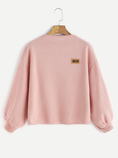 Pink Funnel Neck Drop Shoulder Lantern Sleeve Patch Sweatshirt