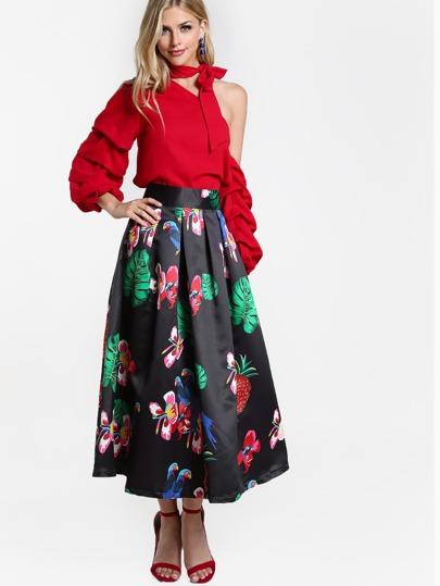 Parrot Print A Line Skirt BLACK