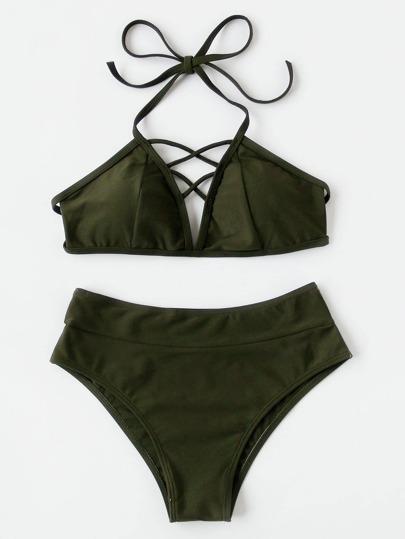 Lattice Front High Rise Bikini Set