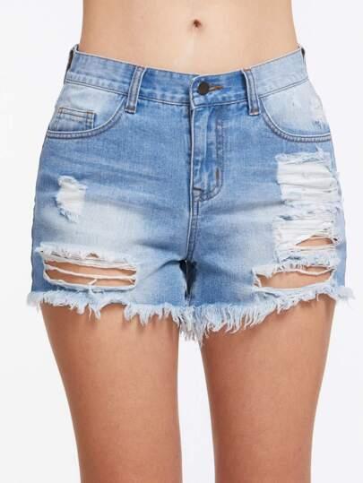 Bleach Wash Destroyed Denim Shorts
