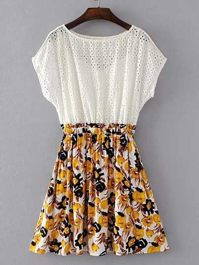 Contrast Floral Hollow Out 2 In 1 Dress