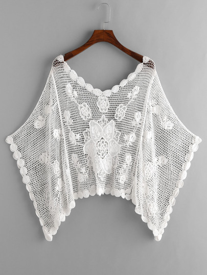 Hollow Out Crochet Kaftan Cover Up