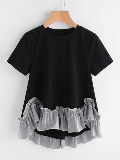 Tee-shirt ligne A asymétrique découpé à rayures avec des plis