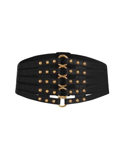 Studded Detail Lattice Corset Belt