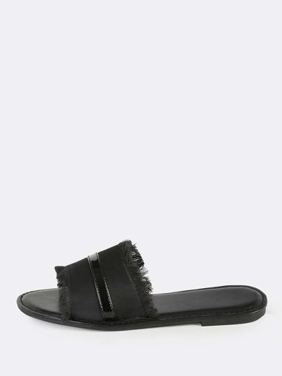 Satin Slip On Sandals BLACK