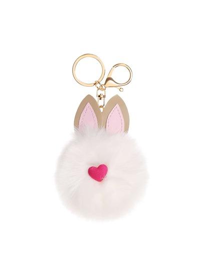 Rabbit Design Pom Pom Cute Keychain