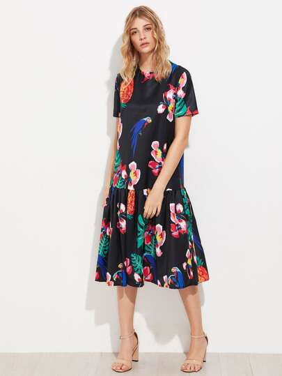 Random Jungle Print Frill Hem Dress