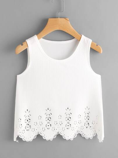 Scallop Laser Cut Out Textured Tank Top