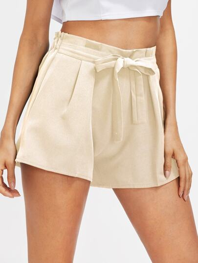 Shirred Waist Self Tie Front Shorts