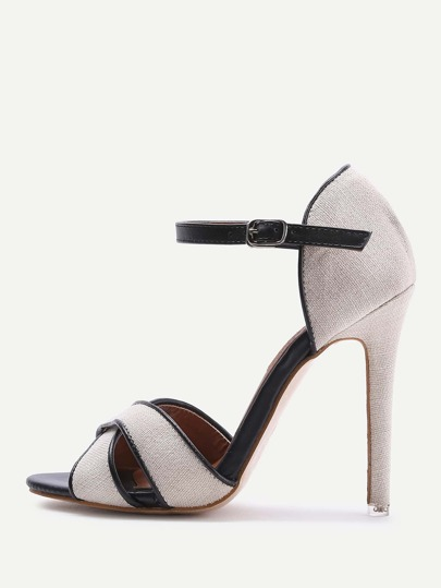 Criss Cross Stiletto Heel Sandals