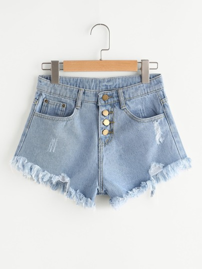 Distress Fray Hem Single Breasted Denim Shorts