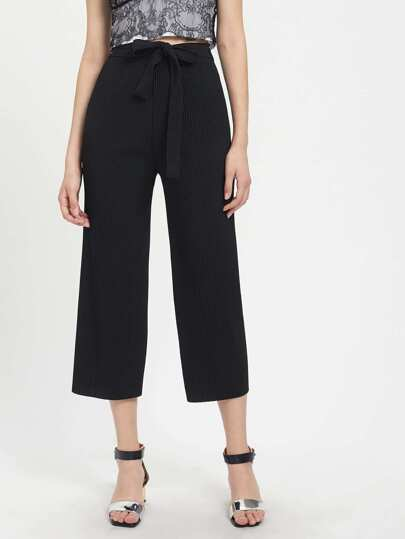 Self Tie Pleated Wide Leg Pants