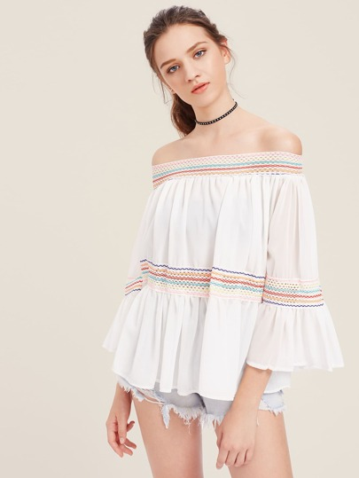Contrast Panel Bardot Fluted Sleeve Top