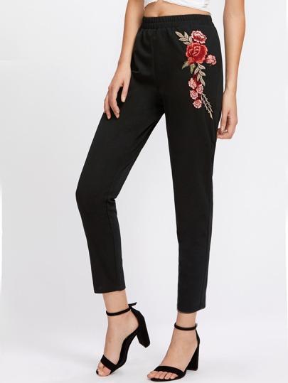 Pantalons brodé avec des appliques des roses