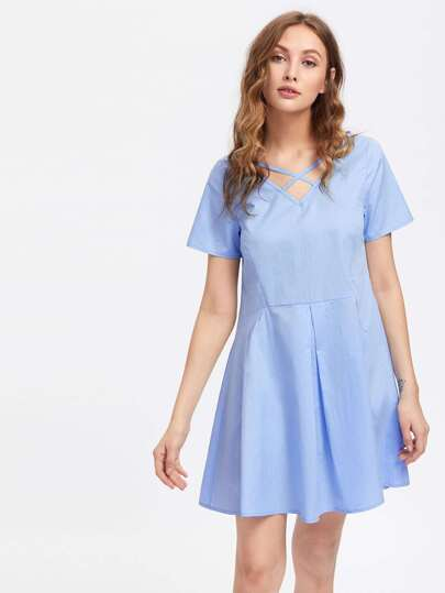 Crisscross Neck Fold Pleat Dress