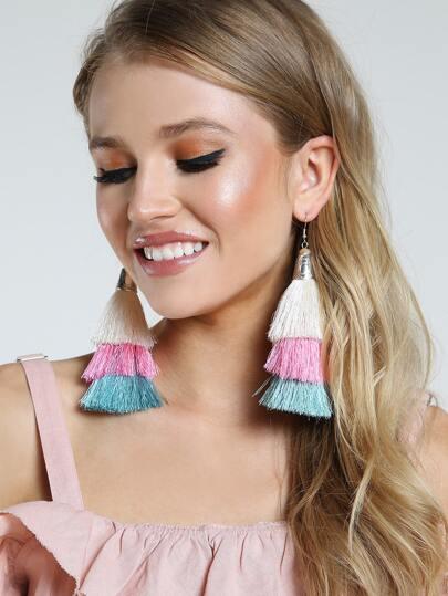 Layered Tassel Earrings MULTI