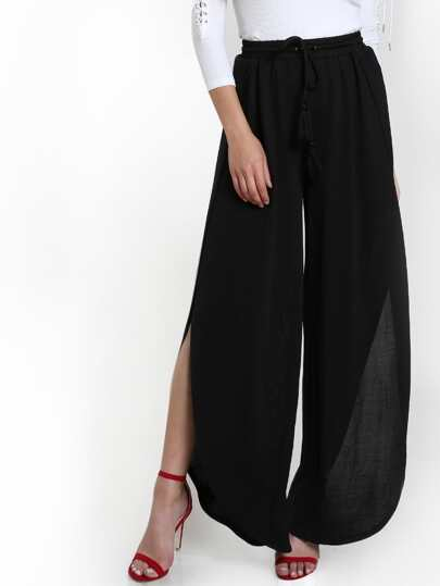Tasseled Drawstring Curved Slit Flow Pants