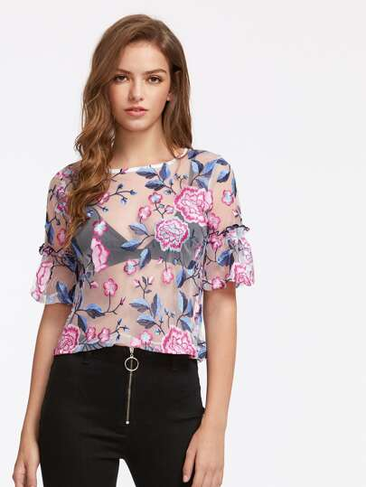 Bell Sleeve Flower Embroidery Lace Top