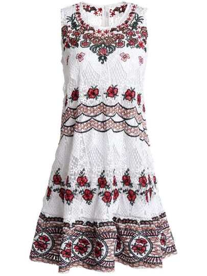 Tribal Flowers Embroidered Lace Dress