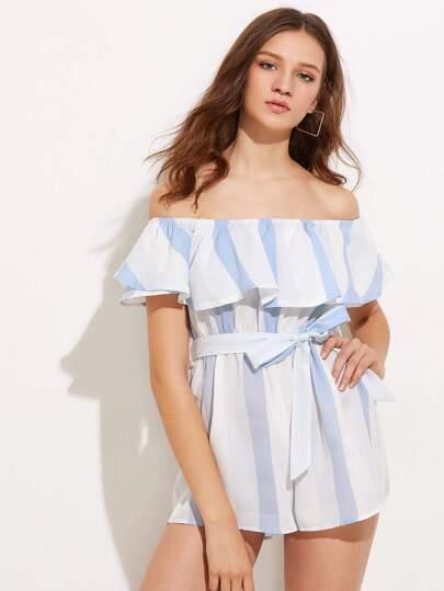 Bardot Vertical Striped Tie Waist Playsuit
