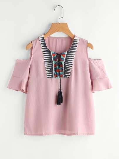 Aztec Embroidery Open Shoulder Tassel Tie Top