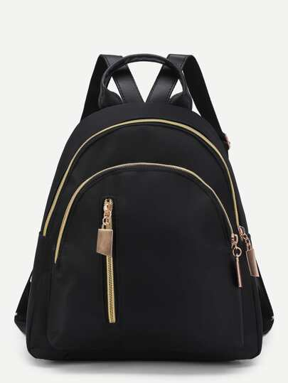 Vertical Zipper Detail Nylon Backpack