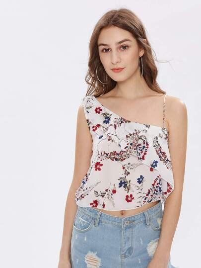 Oblique Shoulder Frill Layered Florals Top