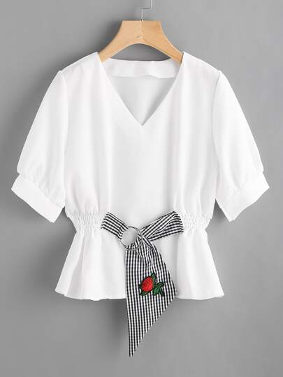 Contrast Gingham O-Ring Detail Embroidered Applique Blouse