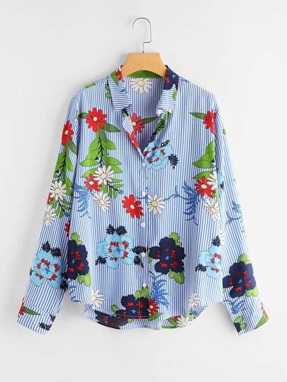 Pinstripe Floral Print Dolphin Hem Shirt